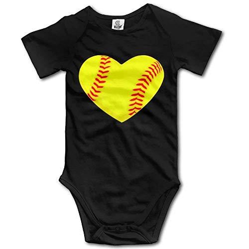 I Love Softball Heart Newborn Babys Boy's & Girl's Short Sleeve Jumpsuit Outfits for 0-24 Months Black (Pants Softball Schwarz)