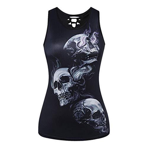 Morbuy Mujeres Camiseta de Tirantes, Gótica Sin Mangas diseño de Calaveras Tanque Superior corsé Disfraz de Tank Tops Chaleco Chaleco (S, Cráneo de Smog)