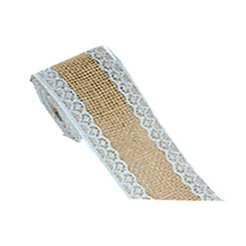 Jeerui Lace Leinenrolle natürliche Sackleinen Ribbon Twine Roll mit eleganten weißen Spitze Leinenband für Geschenkverpackung Hochzeit Dekor (Mit Sackleinen Spitze Ribbon)