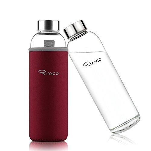 Ryaco Glasflasche Trinkflasche Classic Tragbare 550ml BPA-frei für unterwegs Sportflasche Glas Wasserflasche zum Mitnehmen von kalten Getränken mit Neopren Tasche und Schwammbürste (Glas Milch Flaschen Zu Trinken)
