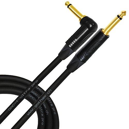 20Meter–Gotham gac-1Ultra Pro–PREMIUM, kapazitätsarme an (21PF/F) Gitarre Bass Instrument Kabel–mit gerade auf abgewinkelt, (6,35mm) Neutrik vergoldete Stecker