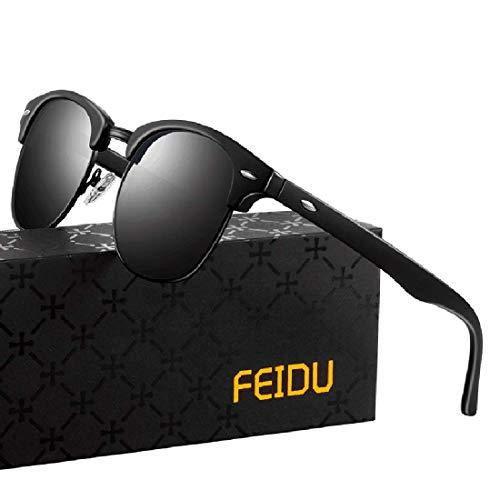FEIDU Halbrahmen Polarisierte Klassische Metall Sonnenbrillen Herren-Retro Polarisierte Sonnenbrille Damen FD 3031 (all/schwarz-matte-schwarz, 2.04)