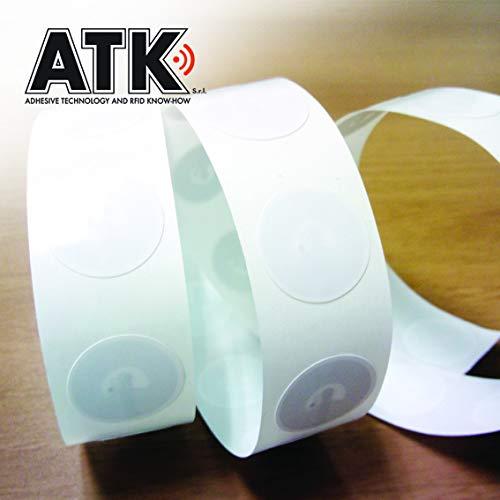 ATK - 10 NFC TAGS Adesivo NTAG 216 | 888 byte | Compatibile con cellulari e dispositivi NFC | 20mm Bianco