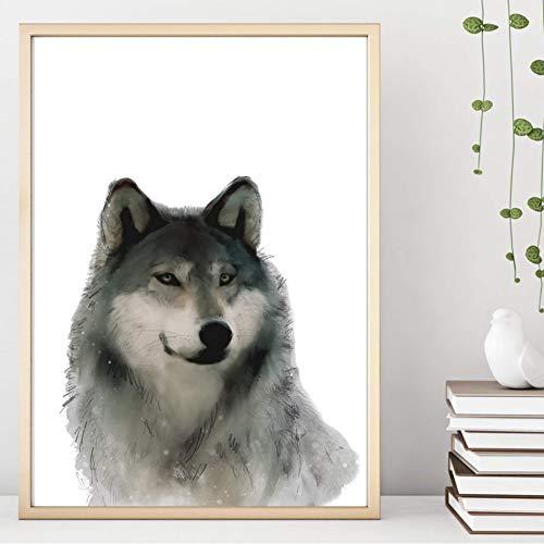 Din A4 Kunstdruck ungerahmt Wolf Aquarell Wolfshund Husky Hund Realismus Geschenk Druck, Poster, Bild