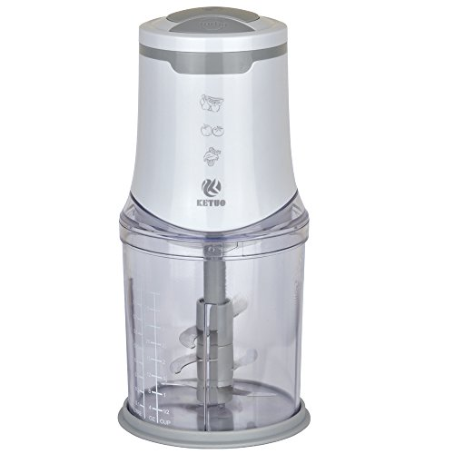 Zerkleinerer 550 Watt Universalzerkleinerer 2 Geschwindigkeitsstufen | Fleisch und für Obst und Gemüse Sechs Klingen 1000 ml Weiß+Grau