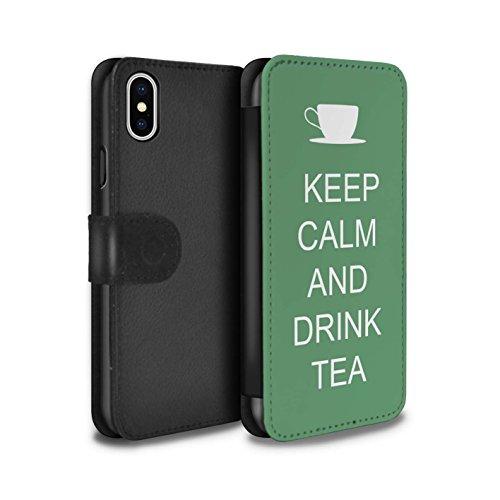 Stuff4 Coque/Etui/Housse Cuir PU Case/Cover pour Apple iPhone X/10 / Pack 25pcs Design / Reste Calme Collection Boire du Thé/Vert