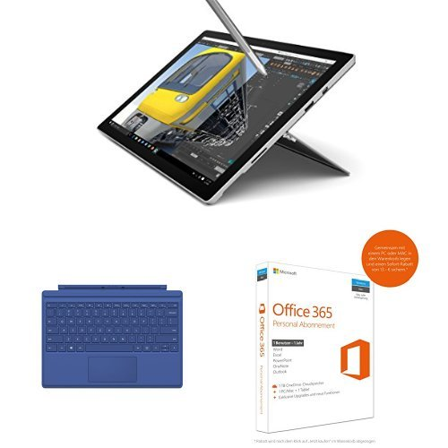 Preisvergleich Produktbild Set aus Microsoft SU4-00003 31,24 cm (12,3 Zoll) Surface Pro 4 (Intel Core i7, 1 TB SSD, Win 10 Pro) silber + Microsoft QC7-00024 Surface Pro 4 Type Cover blau + Microsoft Office 365 Personal - 1 PC/MAC - 1 Jahresabonnement - multilingual (Product Key Card ohne Datenträger)