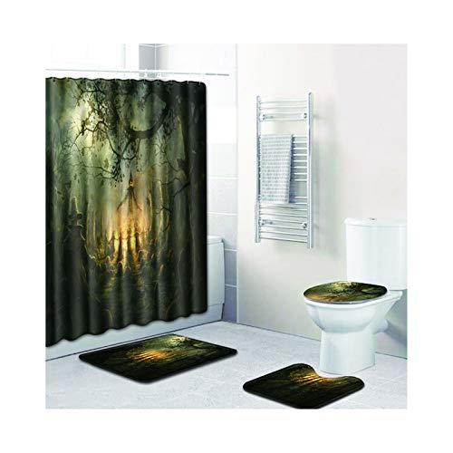 MaxAst Duschvorhang Badematte 4Teilig Set Halloween-Thema Bunt Duschvorhang 180X180 Waschbar Duschvorleger Set 50x80