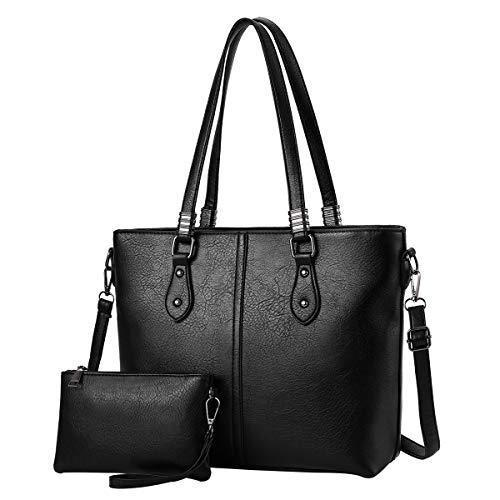 I IHAYNER Damen Handtaschen aus PU-Leder mit großer Kapazität Retro Vintage Top-Griff Casual Tote Umhängetaschen - Schwarz PERSEUS -