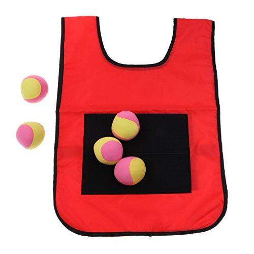 Baoblaze Outdoor Dodgeball Klett Weste Werfen Ziel Spiel Sport Dodge Tag Sticky Spielzeug - Rot für Erwachsene, wie beschrieben -