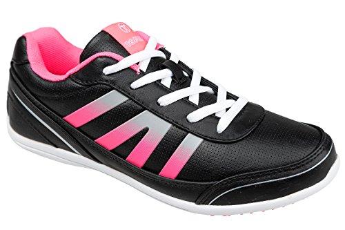 GIBRA® Damen Sneakers, leicht und bequem, schwarz/pink, Gr. 36-41 Schwarz/Pink