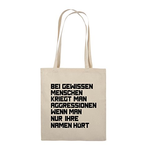 Comedy Bags - Bei gewissen Menschen kriegt man Aggressionen. - Jutebeutel - lange Henkel - 38x42cm - Farbe: Schwarz / Pink Natural / Schwarz