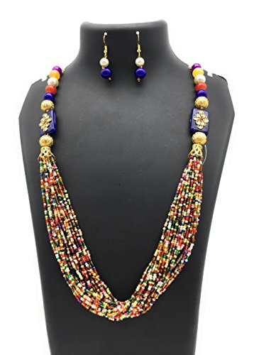 Satyam Kraft Traditional Kundan Multicolor beaded Necklace Set For Women for wedding/diwali jewellery/traditional jewellery/jewellery for women/pearl jewellery/kundan jewellery/ethnic necklace/party necklace  available at amazon for Rs.339