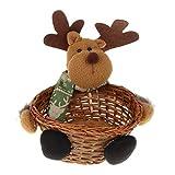 FLAMEER Weihnachten Rattan Körbchen Geschenkkorb Füllkörbchen Aufbewahrung Körbchen für alle Artikel - Elchkorb - Big