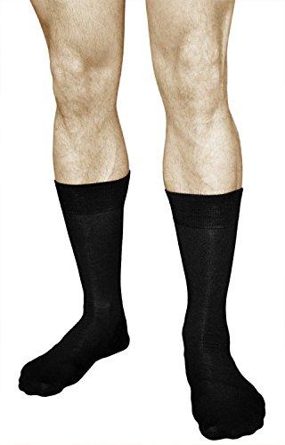 Calcetines de Bambú Hombre (3 PARES) Finos Suaves Transpirables, Vitsocks, negro, 42-43