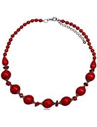 EYS Damen-Kette Messing Koralle rot 48 cm Halskette Perlenkette
