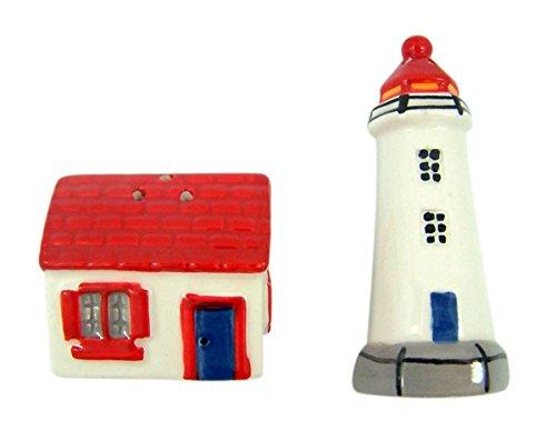Beach Keramik Salz und Pfeffer Shaker Set Küche Decor, 7,6cm, keramik, Lighthouse (Pfefferstreuer Strand Salz-und)