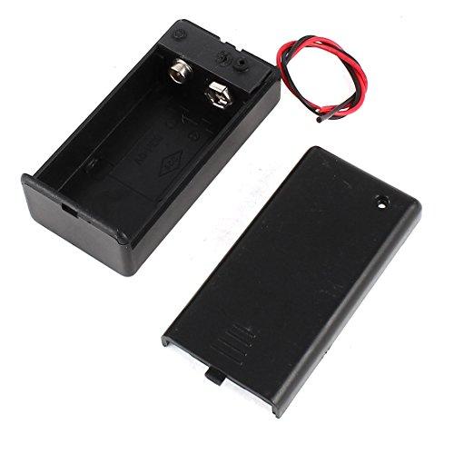 Sourcingmap Plastique Noir 9V Porte-Piles Boîte Rangement sur/Off Interrupteur Cap w