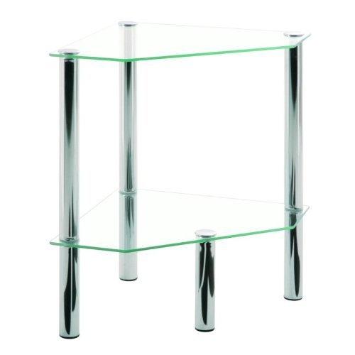 Haku Möbel 90245 Table Basse d'Appoint Tube d'Acier/Verre Trempé Chromé 46 x 32 x 47 cm