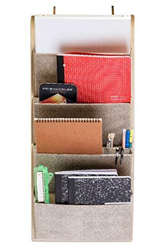 4 Taschen Stoff Wand Organizer für Haus, Schrank Aufbewahrung und Büro mit Wandhalterung oder zum Aufhängen über der Tür. WallPockets by EW. [Beige] -
