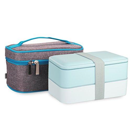 Bentobox Lunchbox Bento Box, Poketech Lunch Box Kit mit isolierender Kühltasche Isoliertasche Hochwertiges Oxford- und Aluminium-Futter Kühltasche, BPA-frei - Grün