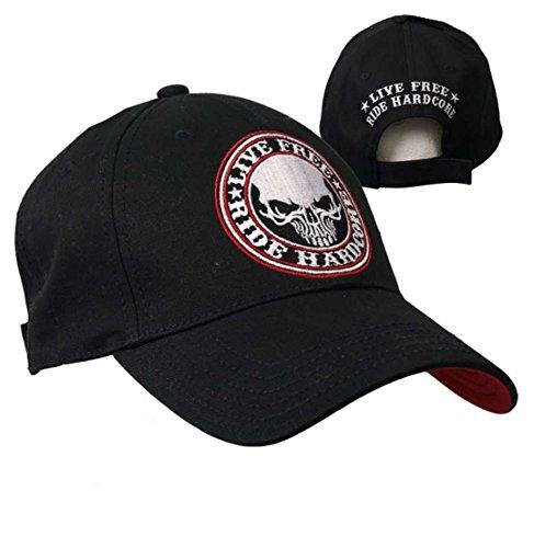 Cappello da Biker con teschio, scritta Live Free Ride Hardco