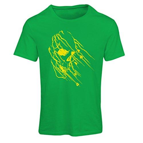 Frauen T-Shirt Art Skull - Vintage t Shirts (X-Large Grün Mehrfarben)