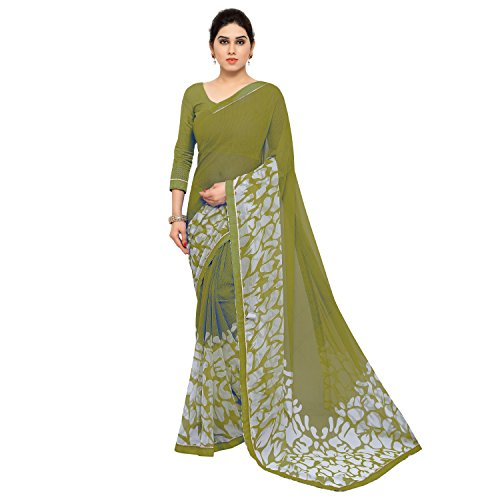 Jaanvi Fashion Women's Mehendi Green Chiffon Printed Saree With Lace