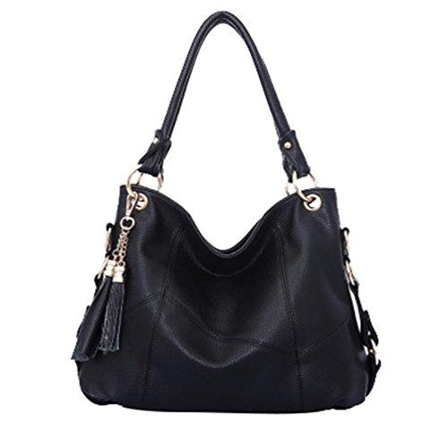YAANCUN Handtaschen Damen Leder Umhängetasche Henkeltasche Designer Taschen Hobo Taschen Groß Mit Quasten (Designer Handtaschen Billig)