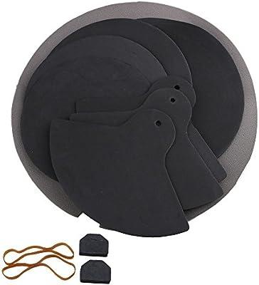 yibuy negro goma espuma Durable Silenciador Silenciadores Drumming goma Pad de práctica, Set