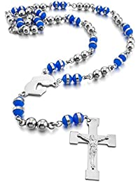 inblue Hombres, mujeres del acero inoxidable colgante collar virgen María Jesús Cristo Cruz Rosario cadena