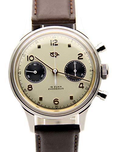 ff5e3917cb Pilot Montre Bracelet Vintage pour Homme Chronographe Cadran Panda rétro  304 Mouette Mvt 38 mm Blanc