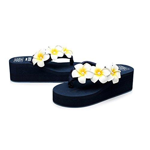Damen Eagsouni® Sandalen Blume Sommer Mädchen Hausschuhe Flip Plateau Keilabsatz Plattform Dunkelblau Flops wwHdraq