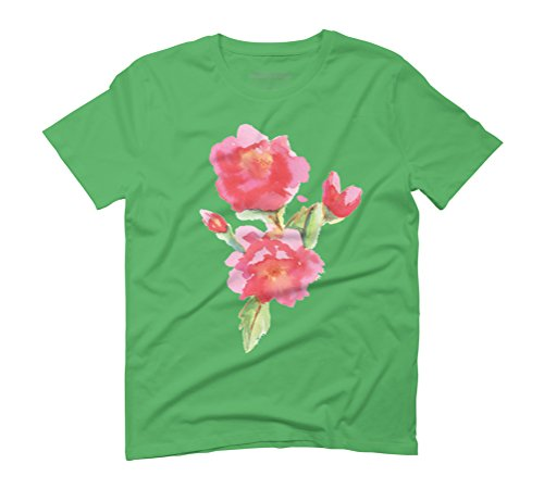 Water Color Roses Men's Graphic T-Shirt - Design By Humans Green