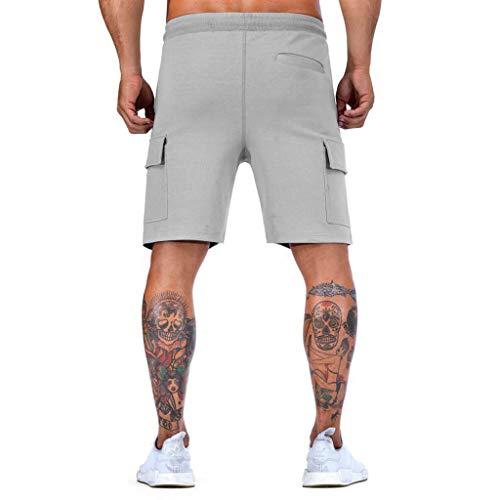 Designer Boxer Shorts (Sannysis Herren Cargo Shorts Sommer Bermuda Kurze Hose Männer Running Fitness Gym Sport Pants mit Kordelzug Training Lässige Designer M-XXL (L, Grau))