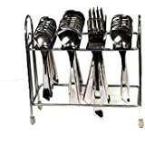 Stainless Steel Cutlery Set 6 Pcs, Tea Spoon, 6 Pcs, Desert Spoon , 6 Pcs, Desert Fork , 6 Pcs, Soup Spoon With Stand Of 24 Pieces