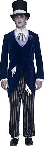 Smiffys, Herren Gothic Manor Bräutigam Kostüm, Jacke, Hose, Krawatte und Hut, Größe: M, 33586