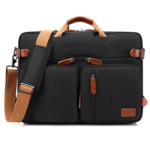 CoolBell umwandelbar Rucksack Messenger Bag Umhängetasche Laptop Tasche Handtasche Business Aktentasche Multifunktions Reise Rucksack Passend für 17,3 Zoll Laptop/Männer/Frauen(Schwarz) -