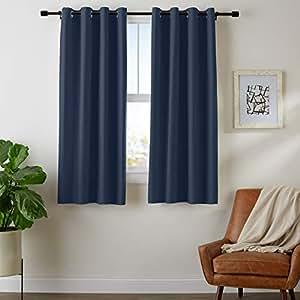 "AmazonBasics Room - Darkening Blackout Curtain Set with Grommets - 42"" x 63"", Navy"
