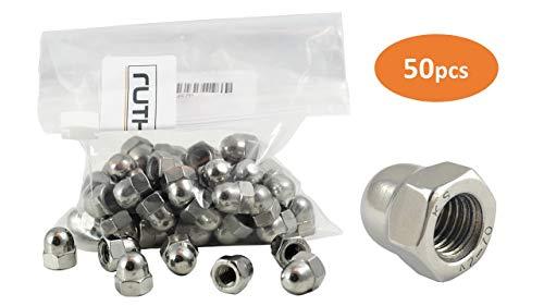 50x ruthex M8 Hutmuttern | DIN 1587 | V2A Edelstahl | Chrom(VI) - frei