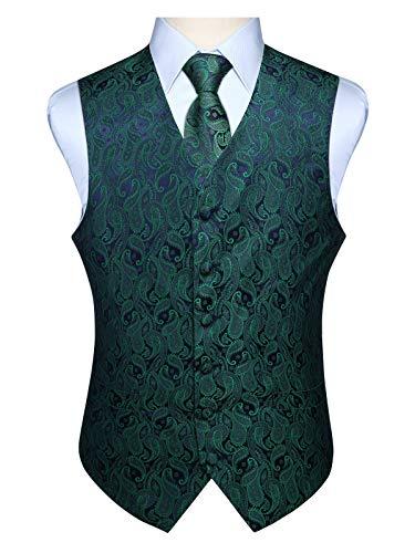 Anzug Kostüm Grünen - Hisdern Manner Paisley Floral Jacquard Weste & Krawatte und Einstecktuch Weste Anzug Set, Grün und Lila, Gr.-L (Brust 46 Zoll)