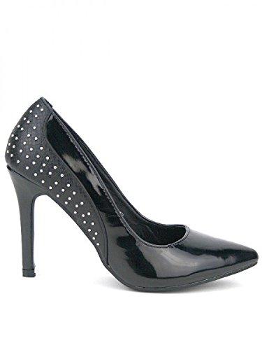 Cendriyon, Escarpin Noir Bi Matière COCO Mode Chaussures Femme Noir