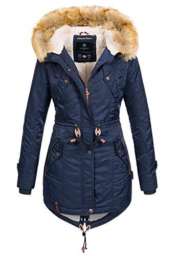Navahoo warme Damen Winter Jacke Teddyfell Winterjacke Parka Mantel B399 [B399-Navy-Gr.XS]