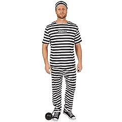 Idea Regalo - dressforfun Costume da Uomo Carcerato | Fantastica maglietta e Comodi pantaloni | Con berretto (XL | No. 301462)