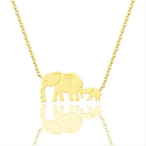 XLEH Joyeria Buena Suerte Collares de Elefantes Dobles Animal Padre Madre Elefante...