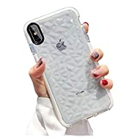 SUBESKING Compatible iPhone Xs Max Case, Cute Crystal Clear Slim Diamond Pattern Soft TPU Anti-Scratch Shockproof Protective Phone Cover Cases for Women Girls Men Boys 6.5 Inch White PH-45700