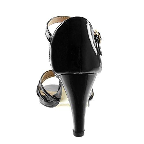 Guida 5 Nero Cinghia Stiletto Tacco Sandalo Tallone Cm Multi 8 Femminile Verniciato Angkorly Scarpa Stiletto flangia Della gdwnxXgSZq