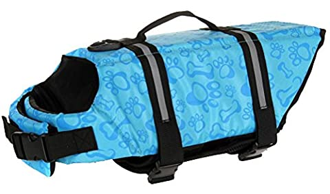 Longwu Hunde Warnweste Schwimmweste Schwimmhilfe für Hunde-Schwimmweste Rettungsweste Float Coat pet dog life Preserver jacket Reflektoren Blau-L