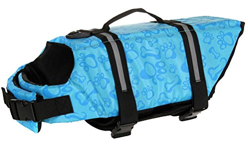 Longwu Hunde Warnweste Schwimmweste Schwimmhilfe für Hunde-Schwimmweste Rettungsweste Float Coat pet dog life Preserver jacket Reflektoren Blau-M