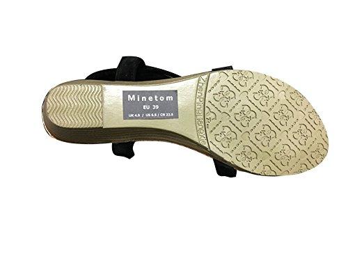 Minetom Damen Sommer Böhmische Stil Blume Perlen Peep Toe Flache Schuhe Alleinige Sandalen Aprikose